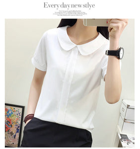 Women formal business shirts casual puff sleeve summer style plus size patchwork blouse peter pan collar