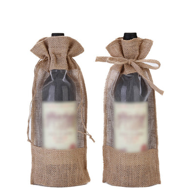 Drawstring Linen Red Wine Bags Gift Bags Eugen Yarn Beam Pocket