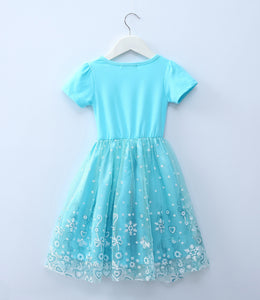Girls Dress Short Sleeved Shawl Elsa Anna Kids Dresses For Girls Party Dresses Costumes Girl dresses
