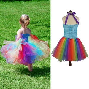 Rainbow Colors Halter Neck Jumpsuit Girls Costumes
