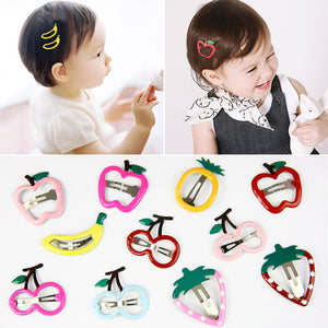 10 pcs Fruits Pattern Print Girls' Metal Snap Hair Clips