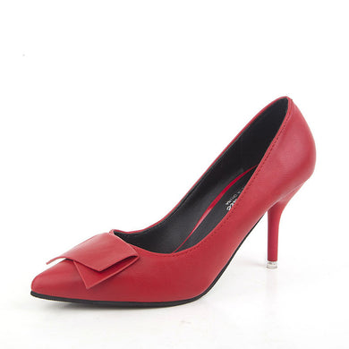 Pair Of New Bow-Tie Women's Shoes And Shingle Shoes With Pointed Toes