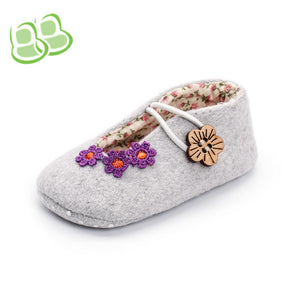 New Arrival Autumn Flowers Suede Toddler Shoes 0-1-year-old