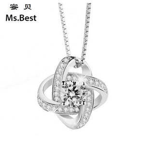 Everlasting Love Silver Pendant Zircon Gemstone Necklace Pendant (pendant ONLY)