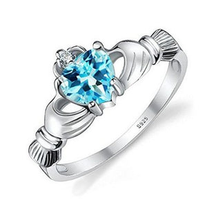 Platinum Loving Heart Gemstone Ring for Women