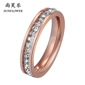 Hot Style Ring Tricolor Stainless Steel Micro Insert Ring Best Gift For Women