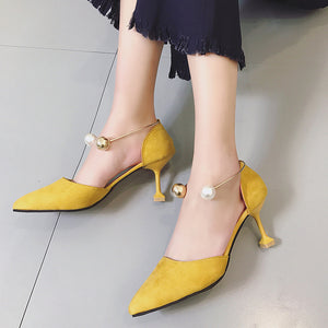 Spring And Summer New Sexy Pointy Head And High Heel Suede Shoes For Women