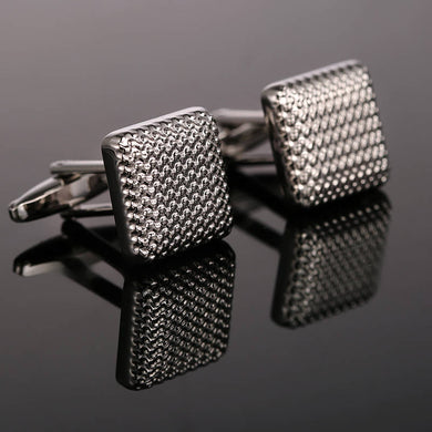 High Quality Hot Sale Fashion Wavy lines Cufflinks Wedding Rhodium Plated Cuff links Shirt square Cufflings
