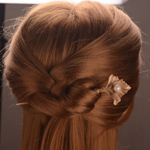 Hot Style Hair Decoration Hairpin A Gold Belt Pearl Lady Head Hairpin Married Bride'S Headdress