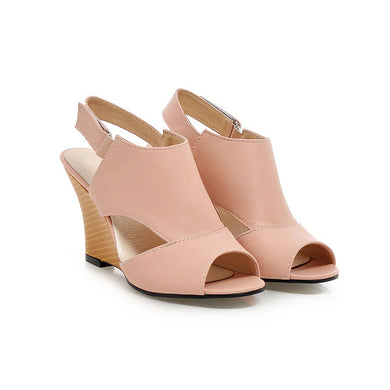 PU Leather Peep Toe Ankle Strap Sandals