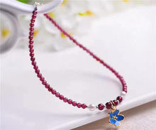 Natural Garnet Agate Blue Flower Detail Anklet