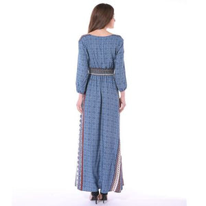 Pattern Printed Elastic Band 3/4 Sleeves Dress