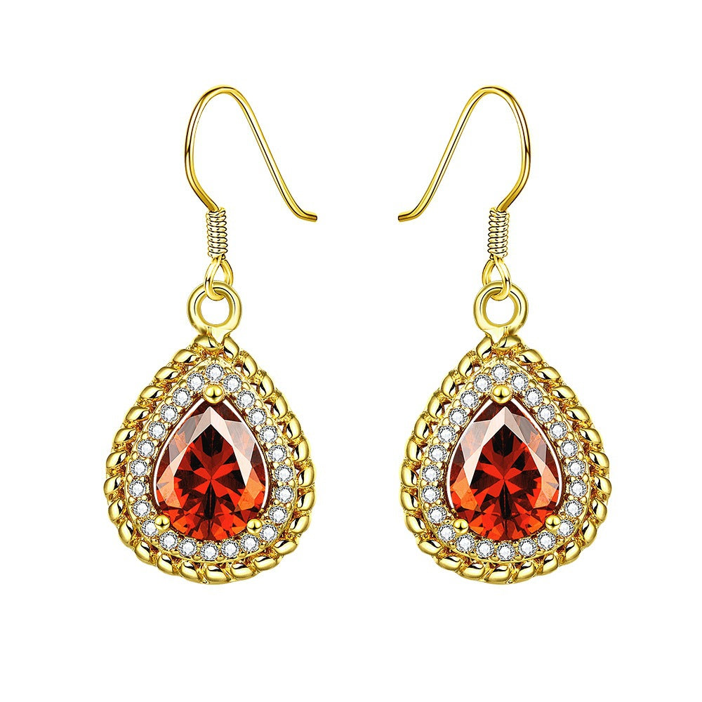 Zircon Drilled Artificial Gemstone Water Drop Shape Earrings with Hooks (1 pair)