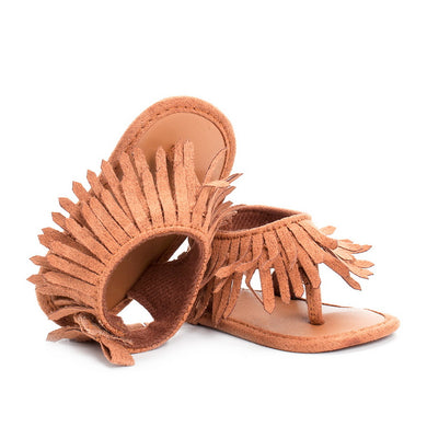 Tassel Detailed Artificial PU Leather Sandal Walking Shoes for Baby Girls