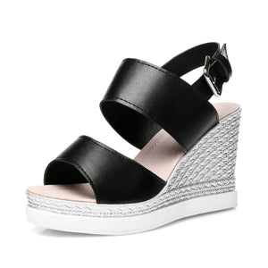 Summer PU Leather Ladies Sandals Wedges