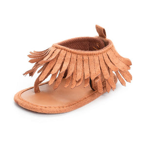 Fashion Velcro Tassel Sandal Flat Shoes for Baby Girls