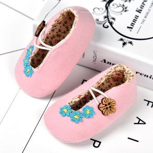 Flower Cotton Button Closure Toddler Shoes for Baby Girl 0-1-year-old