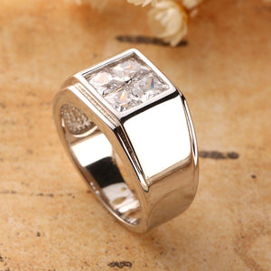 Square Rhinestone Gemstone Silver Rings for Men