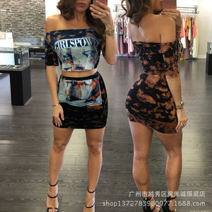 Hot Style Women's Sexy Ladies Printed Short Sleeved Blouse Hip Skirt Club Suit