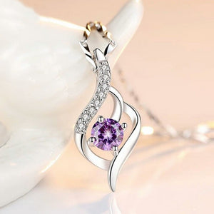 FEATHER Curves Purple Artificial Crystal Gemstone and Zircon Details Pendant ( pendant only)