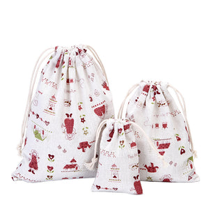 Three Sets Of Cotton Linen Gift Bags Candy Bags Cute Gift Pouch