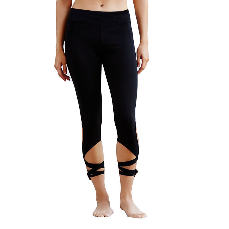 Lace Up Training Pants Highly Elastic Yoga and Running Pants