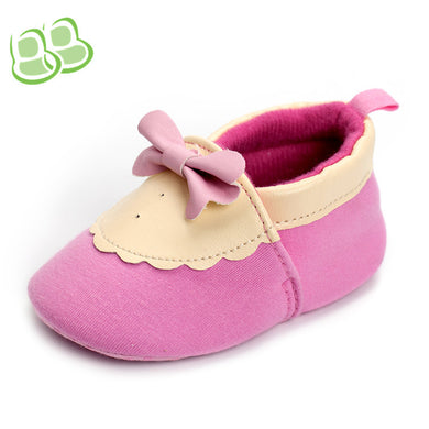 Pink PU Cotton Bow Toddler Shoes Elastic Baby Shoes