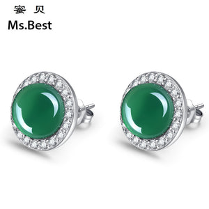 Jade Centered Zircon Drilled Silver Earrings (1 pair)