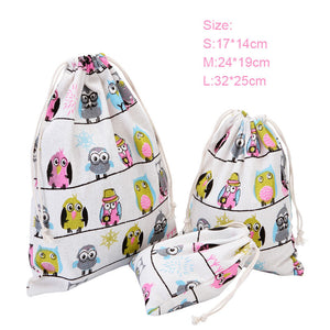 Handmade Cartoon Owl Drawstring Storage Bag Candy Bag Gift Bag