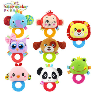 Happy Monkey Baby Bb Sounds Rattle Hand Holding Jelly Teether Rattles Baby Bells 0-1Y Plush Toys Animal Rattles