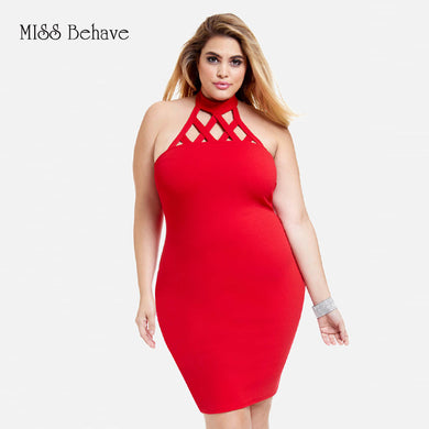 Hot Red Gathered Neck Bodycon Dress