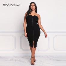 Strapless Zip Up Knitting Bodycon Dress