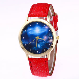 Shining Belt Watch Dreamy Galaxy Pattern Female Watch