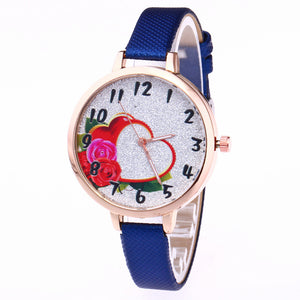 Rose Heart-shaped Pattern Female Watch