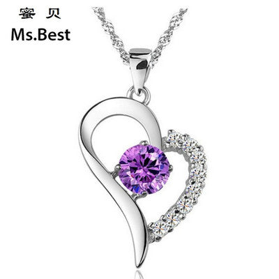 Silver Pendant Heart Shape Zircon Gemstone Necklace Pendant (pendant ONLY)