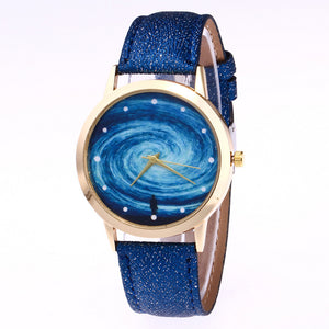 Human and galaxy pattern ladies watch