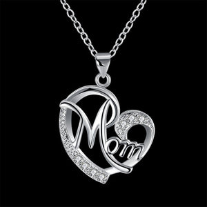 Heart Shape Mom Script Pendant Mother¡¯s Day Gift Necklace Pendant (pendant ONLY)