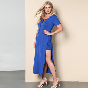Blue Long Dress Bowtie Detail High Cut Shift Dress