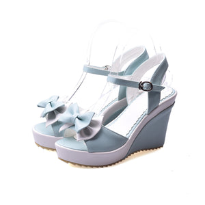 Gentle Ladies Bow Ankle Strap Rear Closure Sandals