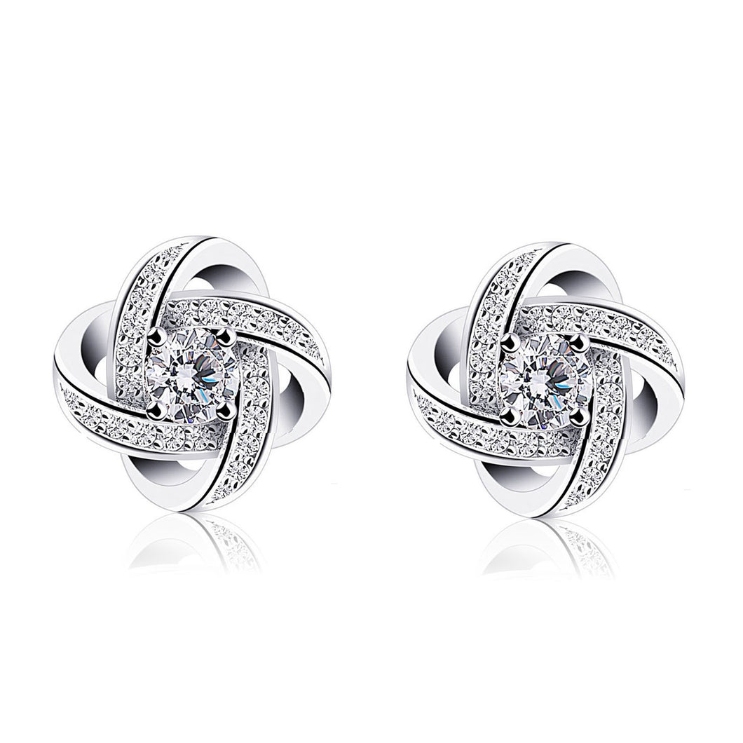 Silver Infinite Loop Zircon Earrings (1 pair)