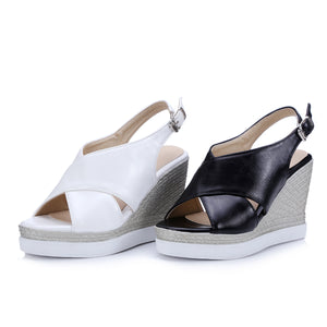 PU Sandals Ankle Strap Rear Closure Wedge Heel Platform Sandals