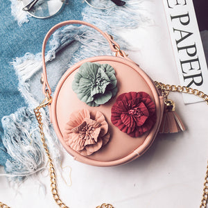 Autumn New Round Purse Lovely Flowers Handbags Purse Simple Shoulder Diagonal Package