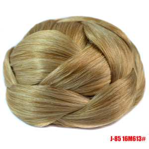 Braided Chignon Synthetic Hair Multi-tiered braids Hair Bun Pad Black Brown Blond Color Round Hairpiece