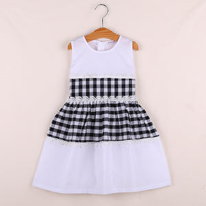 Joint Plaid Check Pattern Long Cotton Dress