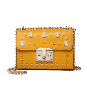 Synthetic Pearls Decoration Sqaure Chain Bag