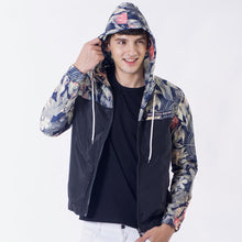 Floral Pattern Hoodies Jacket with Drawcord for Men