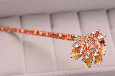 Chinese Wind Cloisonne Hairpin Flame Crystal Woman Hairpin Hairpin Hairpin Hair Ornament Wholesale