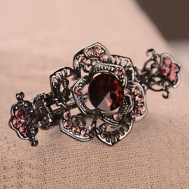 Hot Style Vintage Lady Hair Clips With Water Drill Hollow Alloy Headdress Crab Clip Girl Hair Accessories