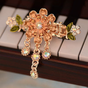 Hot Style Vintage Hair Decoration Painted Sunflower Crab Clip Clip Girl Headdress Crystal Clip Wholesale