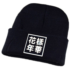 Flower-like Age Character Pattern Black Beanie